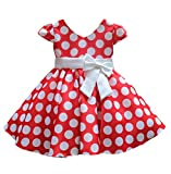SMITHROAD Kinder Mädchen Prinzessin Rockabilly Vintage Kleid V-Ausschnitt Polka Dots Punkte Kostüm mit Schleife Kurzarm Rot Gr.86, Herstellergrösse 90