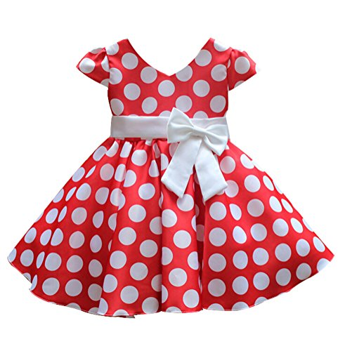 dchen Prinzessin Rockabilly Vintage Kleid V-Ausschnitt Polka Dots Punkte Kostüm mit Schleife Kurzarm Rot Gr.128, Herstellergrösse140 (Schlichte Kleider Kostüme)