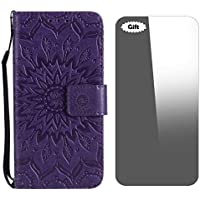 Conber Leather Case with [Free Tempered Glass Screen Protector], Shockproof Vintage Emboss Sun Design Leather Wallet Flip Case Cover