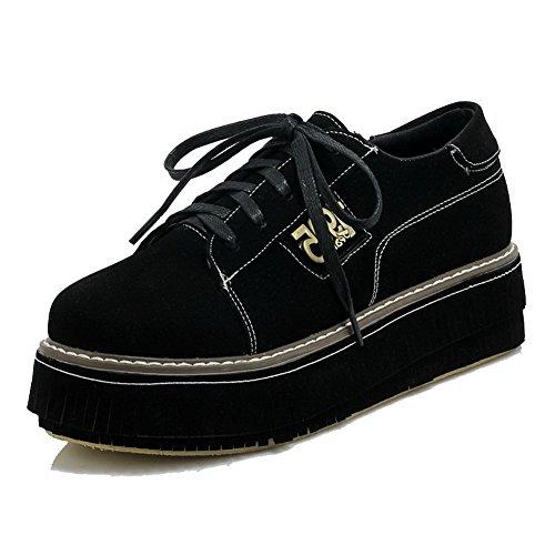 VogueZone009 Femme Rond Lacet Suédé Mosaïque à Talon Correct Chaussures Légeres Noir
