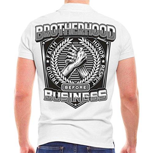 Männer und Herren POLO Shirt Brotherhood before Business (mit Rückenduck) Größe S - 10XL Weiß