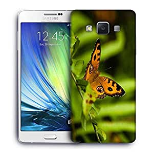 Snoogg Yellow Butterfly Printed Protective Phone Back Case Cover For Samsung Galaxy A7