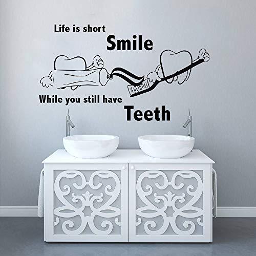 o Zahnklinik Zitat Wandaufkleber Zähne Klinik Wand Poster Zahnpflege Wandbild Home Badezimmer Dekor n2 57x32 cm ()