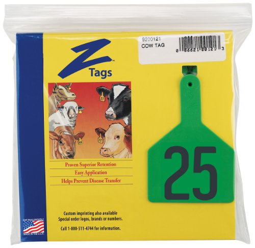 z etiquetas–pre-numbered caliente etiquetas sello para vacas, números de 76A 100, verde