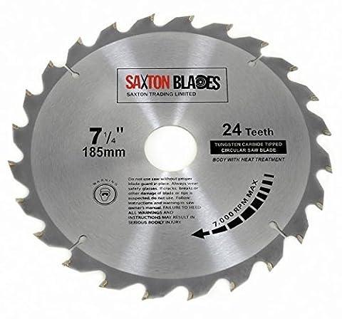 TCT18524T Saxton TCT Lame de scie circulaire à bois 185mm x 30mm x alésage x 24dents pour Bosch Makita Dewalt