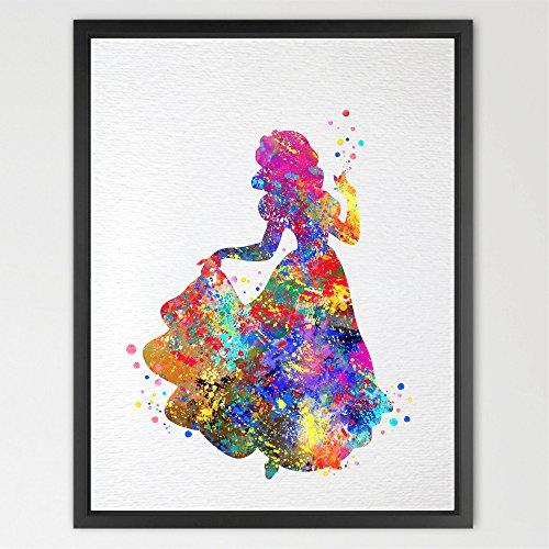 dignovel Studios neve bianco Stampa Principesse Disney acquerello stampa Artistica Da Parete Poster Kids Room Decor Art Wall Hanging ragazze Room Art regalo di compleanno matrimonio n036-unframed - Disney Wall Hanging