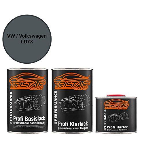Preisvergleich Produktbild Autolack Set Dose spritzfertig VW / Volkswagen LD7X Platinum Grey Metallic Basislack + 2K Klarlack 2,5L