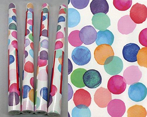 Klebefolie Julia Punkte bunt - 4 Rollen im Set a 45 x 200 cm - bunte Möbelfolie Kinderzimmer - selbstklebende Folie DOTS - Selbstklebefolie Bastelfolie mit Muster