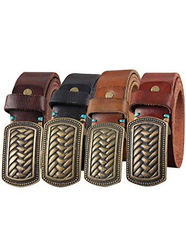 Menschwear Men's Belt Genune Leather Adjustable Belt with Copper Slide Buckle 38MM