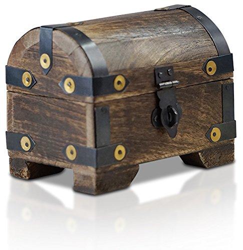 Brynnberg scrigno del tesoro vintage bauletto stile antico per accessori gioielli oggetti di valore, cassaforte in legno, idea regalo decorativa 11x8x9cm