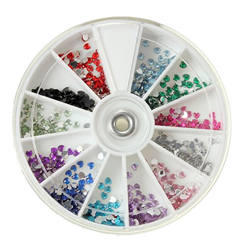 TOOGOO(R) 3000pcs 3D Nail Art Strass Glitter pour Ongles Boite Manucure Nail Art Portable - Coeur