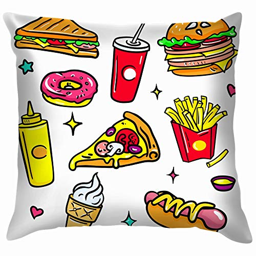 Colorful Isolated Stickers and Drink Dog Cotton Throw Pillow Case Cushion Cover Home Office Decorative, Square 18X18 Inch ()