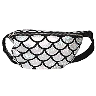 AiSi Mermaid Sequins Waist Packs Bling Glitter Fanny Pack Sport Bumbag, Silver