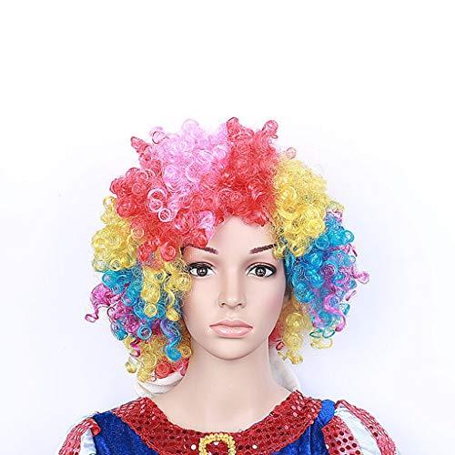 Perücke Kopfbedeckung Clown Farbe Curls Prom Make Up Fan Explosive Kopf Halloween 28cm