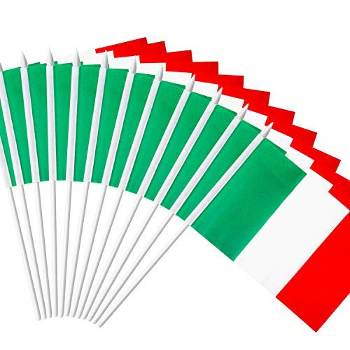 "Anley Italy Stick Flag, Italian 5x8 inch (12 X 20cm) HandHeld Mini Flag With 12"" (30cm) White Solid Pole - Vivid Color and Fade Resistant - 5 x 8 inch Hand Held Stick Flags With Spear Top (1 Dozen)"