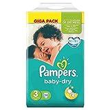 Bebé de tamaño pañales paquete de seco de pañales de 3 Giga 136 Talla:Size 3 (4-8kg/9-20lbs)