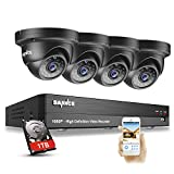SANNCE 4CH 1080P HD Realtime CCTV Camera System All-in-One Video Surveillance Recorder 1TB HDD w/ 4x 1920*1080P 2.0MP Weatherproof Dome Camera, Home Security Camera System HD Over Analog/BNC, Smart Email Alert, Peer to Peer Technology