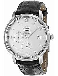 Omega de Ville Prestige Plata Dial Negro Cuero Mens Reloj 424.13.40.21.02.001