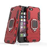 Cocomii Black Panther Armor iPhone SE/5S/5 Hülle [Strapazierfähig] Taktisch Metallring Griff Ständer [Funktioniert Mit Magnetischer Autohalterung] Case Schutzhülle for Apple iPhone SE/5S/5 (B.Red)