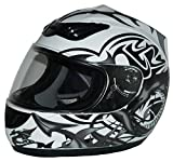 Protectwear Casque de moto, blanc noir, avec conception Dragon en gris argent,...