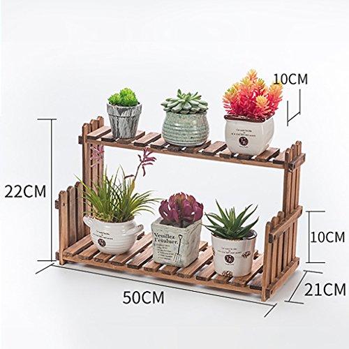 MMM& Porte-fleurs en bois massif Salle de séjour Balcon Atterrissage Porte-pot à fleurs multicouches Étagères intérieures simples ( Couleur : Rétro couleur , taille : 50 cm )