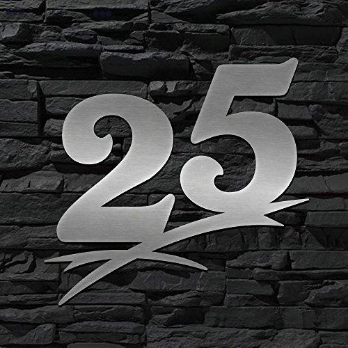 Numéro de maison en acier inoxydable 25–16cm 20cm 30cm 40cm 50cm–Design Original alezzio–Résistant aux intempéries V2A–Plaque de Porte–Montage facile–Résistant à...
