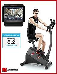 Ergometer SPORTSTECH ESX500 mit Smartphone App Steuerung + Google Street View Lauf + 5,5 Zoll Display, 12KG Schwungmasse, Pulsgurt kompatibel – Fitness Bike Heimtrainer mit flüsterleisem Riemenantrieb