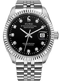 Burei® Herren 5003–51E Edelstahl Automatik Uhr mit Kalender und schwarz Gesicht