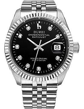 BUREI Luxus Herren Armbanduhr Automatik Mechanische Selbstaufzug Automatikuhr mit Saphirglas Datum Kalender und...