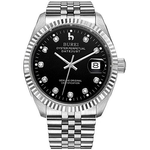 Burei Herren Uhren Automatische Armbanduhr kratzfest synthetischen Saphir Linsen und Edelstahl Band (Schwarz-Silber)