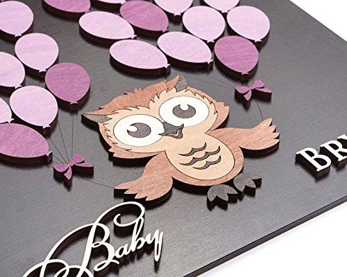 76DinahJordan Baby Dusche Gästebuch Alternative Eule Baby Dusche Gästebuch Baby Boy Dusche Gästebuch Baby Dusche Schild in 3D Gästebuch Benutzerdefinierte Farben