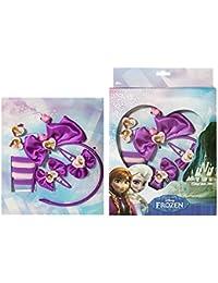 Frozen Disney accessoires pour cheveux Reine des neiges comprenant des clips attaches avec noeuds et un serre tete et des chouchous, des coeurs elastiques etc. 10 pieces