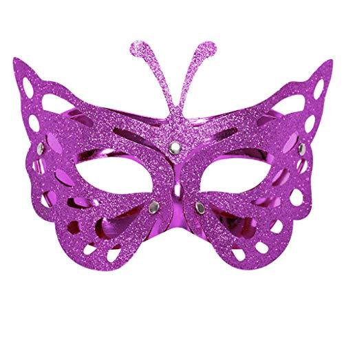 iYmitz Karnevals Maske Venezianische Schmetterling Maskerade Grimasse Fasching Masken Spitze Partys Kostüm Halloweenmaske(Rosa,One ()