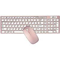 Tastiera e mouse Combos, URCO Ergonomico Wireless 2.4GHz di bell'aspetto Tastiera e portatile Tastiera e Mouse Set per il gioco e di lavoro (Oro