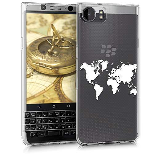kwmobile Funda para Blackberry KEYone (Key1) - Carcasa de [TPU] para móvil y diseño de Mapa del Mundo en...