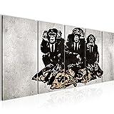 Bilder Banksy Street Art Affen Geldsäcke Wandbild 200 x 80 cm - 5 Teilig Vlies - Leinwand Bild XXL Format Wandbilder Wohnzimmer Wohnung Deko Kunstdrucke Grau -100% MADE IN GERMANY - Fertig zum Aufhängen 303455b