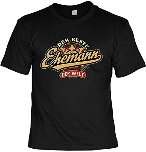 Hochzeitstag T-Shirt Der beste Ehemann der Welt Shirt 4 Heroes geil bedruckt Geschenk Set mit Mini Flaschenshirt Schwarz