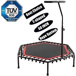 Bunao Trampolín Fitness con Mango Regulable - Cama Elástica para Adultos, Unisex 143 cm (Trampolines de interior1)