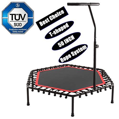 Buano Fitness-Trampolin, TÜV-Geprüft, Ø 128cm, leise Gummiseilfederung, 5-Fach höhenverstellbarer Haltegriff, inkl. Randabdeckung, Nutzergewicht bis 130kg, Trampolin für Jumping Fitness (T_Rot)