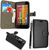 GSDSTYLEYOURMOBILE {TM} MOTOROLA MOTO G PU LEATHER MAGNETIC FLIP SKIN CASE COVER POUCH + SCREEN PROTECTOR +STYLUS