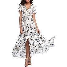 b23d698a037 VOGMATE Femme Robe Chic Longue Col V à Fleur Manches Courtes en Coton Robe  Maxi de