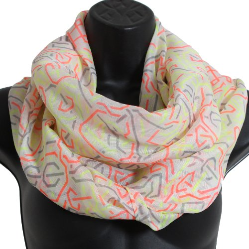Brubaker boucles foulard tube écharpe en viscose voile Multicolore - Neo Muster Weiss Orange Gelb