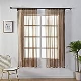 Jaminy Halbtransparent Sheer Vorhänge Floral Tüll Voile Fenster Bildschirm Quaste Tür Schal Drapes Querbehang für Room Decor (H)