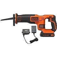 BLACK+DECKER BDCR18-QW Scie sabre sans fil - Débattement : 22 mm - Lame de 15 cm - 1 lame, 18V, Orange, 1 batterie