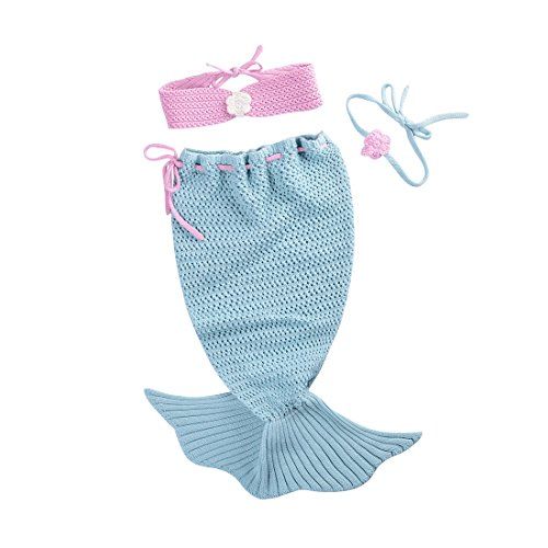 Dorapocket Neugeborene Baby Wrap Swaddle Decke Strick Baumwolle Meerjungfrau Schlafsack,Grün (Gestickte Zahlen)