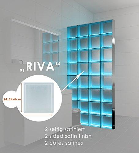 Preisvergleich Produktbild LMW Light My Wall beleuchtete Glassteinwand aus Glasbausteinen in dem Format 24x24x8 cm Gesamtgröße: B 73,5 x H 220,5 cm (Riva 2-seitig satiniert)
