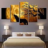 Imágenes Marco Home Decor HD Prints Posters 5 Piezas Full Moon Night Lobo Aullido Paisaje...