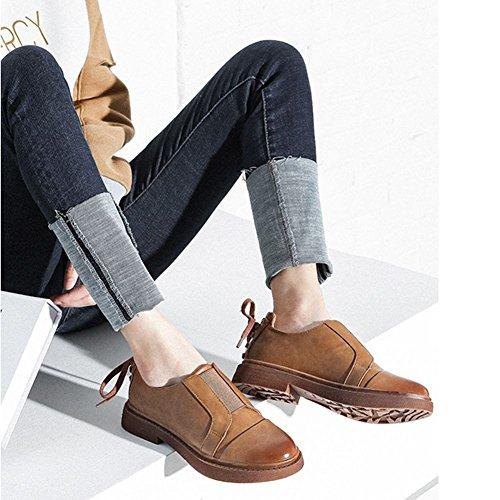 Ville Derbies Femme 35 Jrenok Marron A Confortable Sneakers Enfiler Chaussures  Mode Casual De Mocassins Plateforme ... 3f285fdb3edb