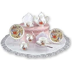 Peter Hase, Children'Teaset Porzellan In Hutschachtel, Pink, 2 Einstellungen, Porzellan Reutter Porzellan Miniaturen-ideal für Teepartys