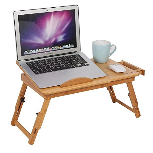 PETRICE Natural Bamboo Laptop Table Desk Adjustable Height Folding Table Stylish Computer Desk Portable Notebook Stand